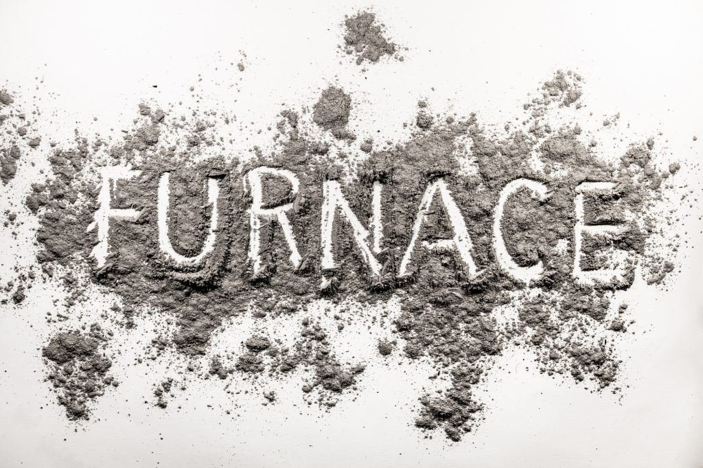 Word furnace text written in ash, dust